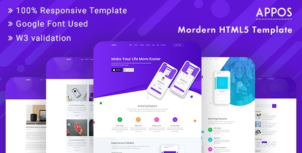 APPOS - App Landing Page Template Bootstrap - Technology Site Templates