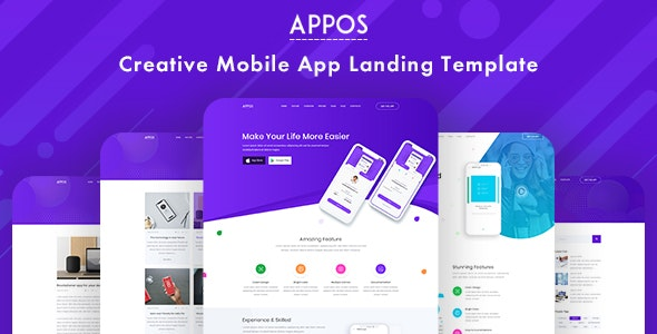 APPOS - Creative App PSD Landing Template - Photoshop UI Templates