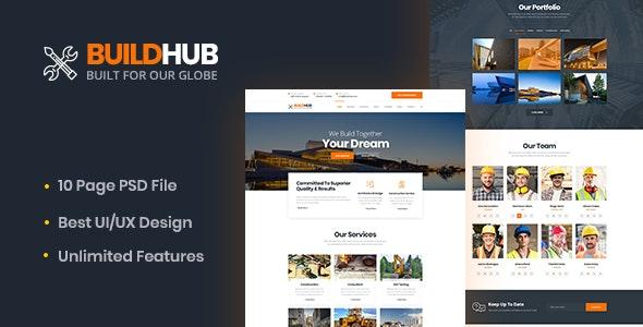 Buildhex Construction/Renovation/Interior PSD Template - Business Corporate