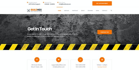 Buildhex Construction/Renovation/Interior PSD Template