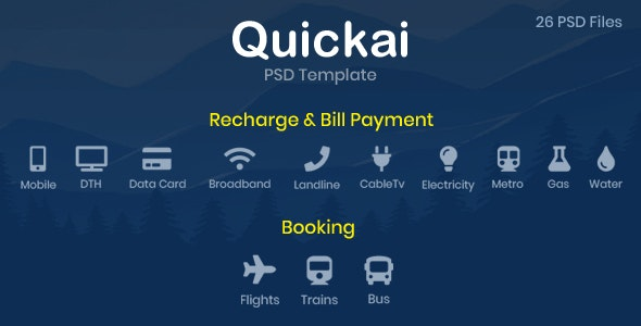 Quickai - Recharge & Bill Payment, Booking PSD Template - Retail Photoshop