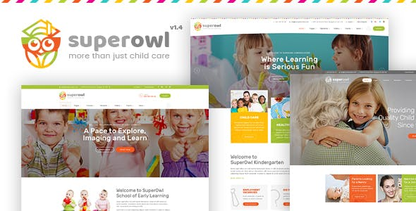 Superowl Kindergarten School Of Early Learning Nanny Agency Html Template