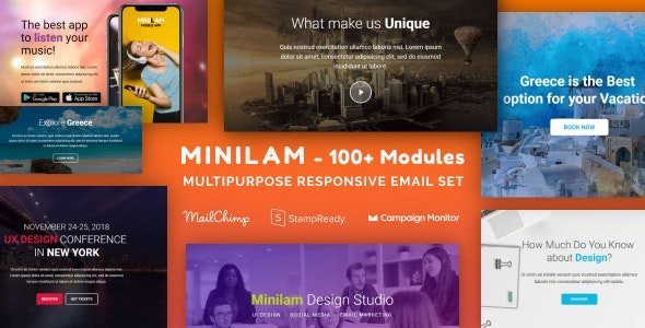 Minilam - Multipurpose Email Set with 100+ Modules + MailChimp Editor + StampReady + Online Builder - Newsletters Email Templates