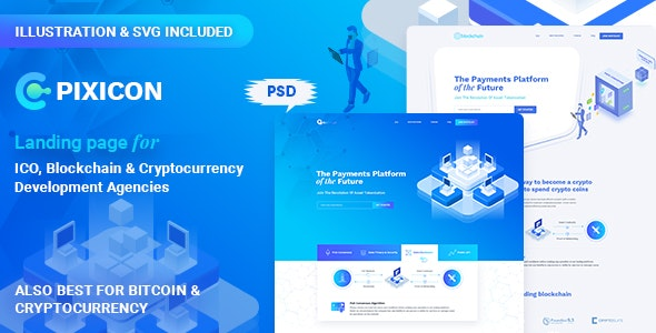 Pixicon - ICO, Blockchain & Cryptocurrency Landing Page - Marketing Corporate