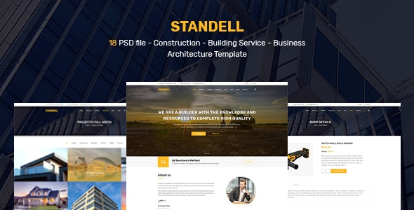Standell | Multipurpose Construction PSD Template - Corporate Photoshop