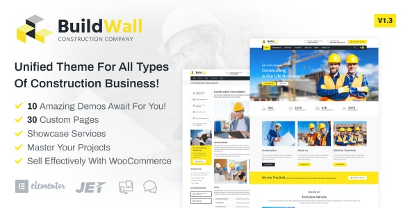 BuildWall - Construction Company Elementor WordPress Theme - Business Corporate