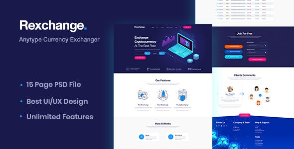 Cryptocurrency Exchange Website Templates from ThemeForest