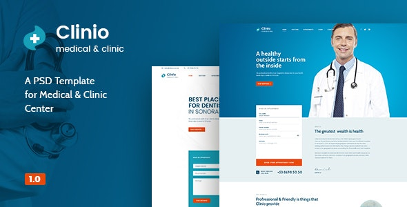 Clinio - Medical & Clinic PSD Template - Corporate Photoshop
