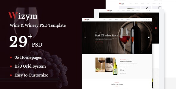 Wizym | Wine & Winery PSD Template - Restaurants & Cafes Entertainment