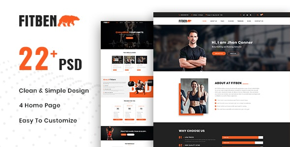 FITBEN | Fitness & Gym PSD Template - Health & Beauty Retail