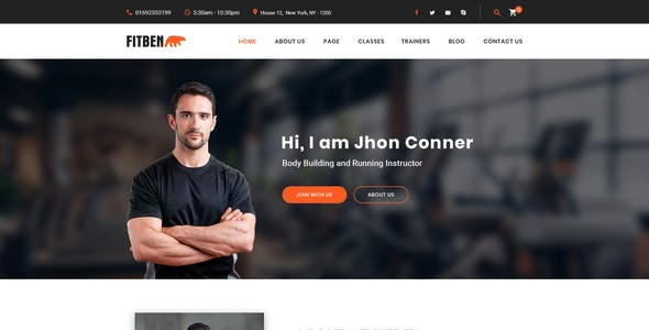 FITBEN | Fitness & Gym PSD Template