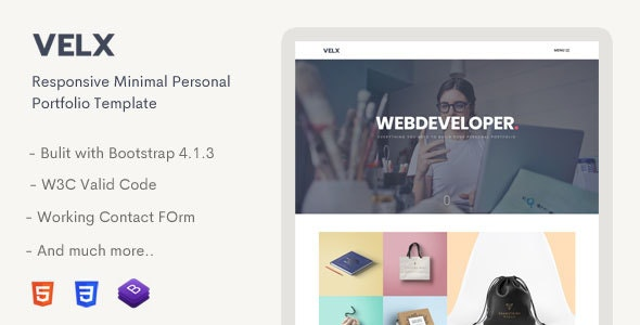 Velx - Responsive Personal Portfolio Template by Mannat