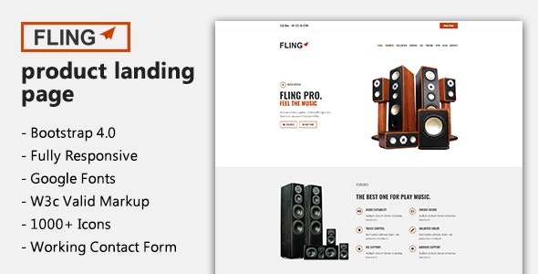 Fling - Product Landing Page - Marketing Corporate