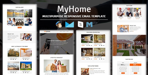MyHome - Construction Responsive Email Template With Stampready Builder Access - Newsletters Email Templates
