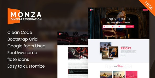 Monza - Single Hotel HTML Template - Travel Retail
