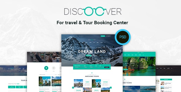 Discoover - Travel Tour Booking PSD Template - Photoshop UI Templates