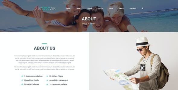Discoover - Travel Tour Booking PSD Template