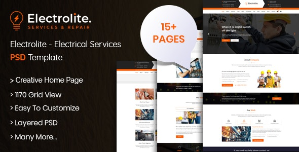 Electrolite - Electrical Services PSD Template - Business Corporate
