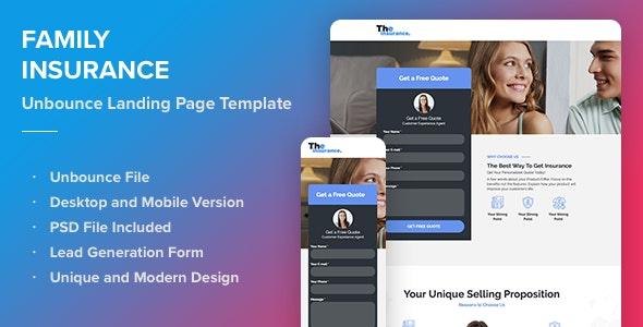 Family Insurance - Responsive Unbounce Landing Page Template - Unbounce Landing Pages Marketing