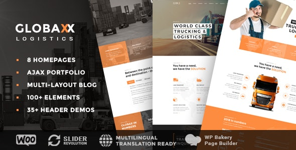Globax - Logistics WordPress Theme + Woocommerce - Business Corporate