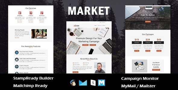 Market - Multipurpose Responsive Email Template With Online StampReady Builder Access - Newsletters Email Templates