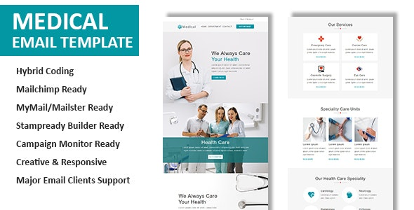 Medical - Multipurpose Responsive Email Template with Online StampReady & Mailchimp Builders - Newsletters Email Templates