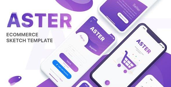 Aster - E-commerce Mobile App Sketch Template