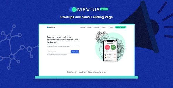 Mevius - Startup & SaaS Landing Page - Software Technology