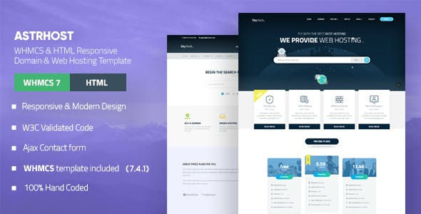 ASTRHOST - Multipurpose Web Hosting with WHMCS Template