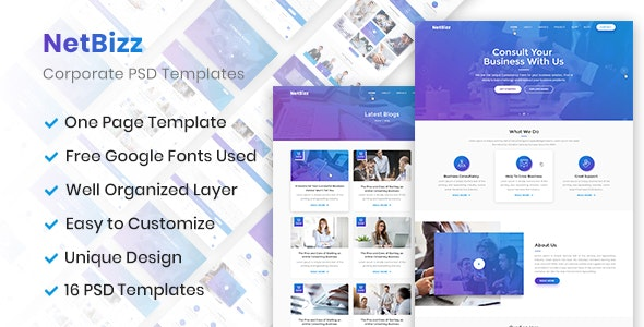 Netbizz - Business and Corporate PSD Templates - Corporate Photoshop