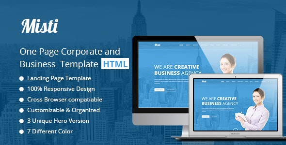 Misti – One Page Corporate and Business  Landing template - Business Corporate