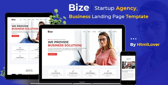 Bize - Startup Agency, Business Landing Page HTML Template - Business Corporate