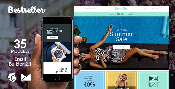 Bestseller Responsive Email Template + Online Emailbuilder 2.1 - Catalogs Email Templates