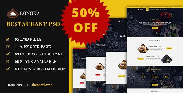 Longka - One Page Restaurant Website PSD Template - Restaurants & Cafes Entertainment