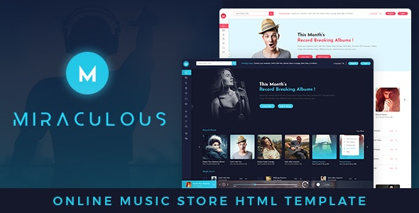Miraculous Online Music Store HTML Template - Music and Bands Entertainment