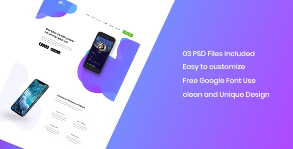 Kabus - clean and modern app landing page PSD template - Photoshop UI Templates