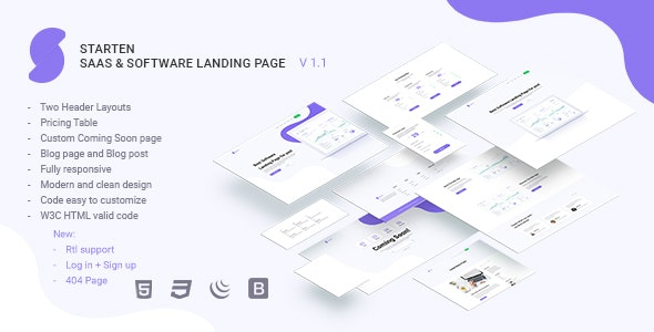 Starten SaaS & Software Landing Page + Rtl support - Software Technology