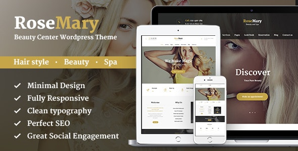 RoseMary - A Refined Hair, Beauty & Spa Salon Wordpress Theme - Health & Beauty Retail