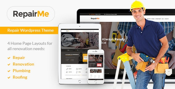 RepairMe - A Vibrant Construction, Renovation & Building WordPress Theme - Business Corporate