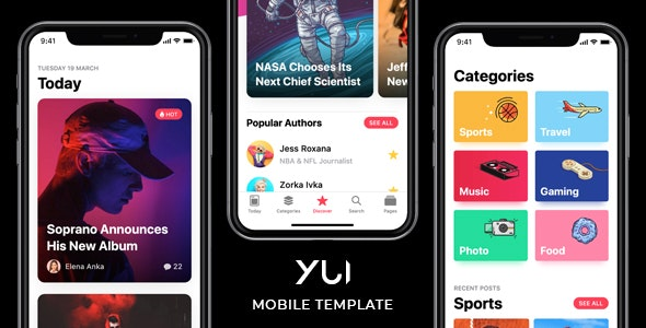 Yui - News & Magazine Mobile Template by Xioyuna | ThemeForest