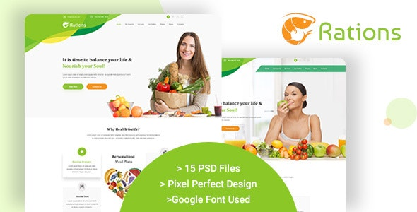 Ration PSD - Weight Loss | Nutrition Health Care & Diet Template - Health & Beauty Retail