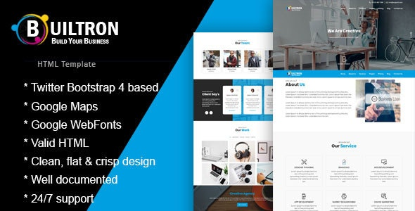 Builtron - One Page HTML Bootstrap4 Template - Business Corporate