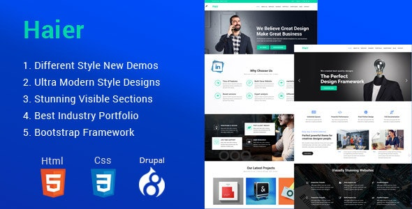Haier | The Multipurpose Drupal 8.8 Theme - Business Corporate
