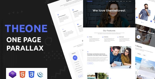 Theone - One Page Parallax Template - Portfolio Creative