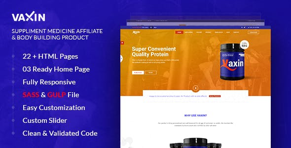 VAXIN-Health Supplement Medicine Affiliate with Bodybuilding Product HTML Template