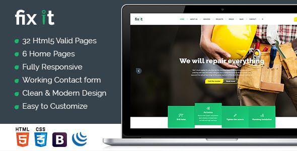Fixit - Construction HTML Template