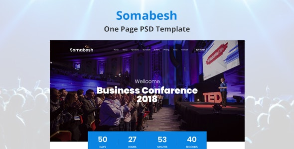 Somabesh - One Page Event and Conference PSD Template - Events Entertainment