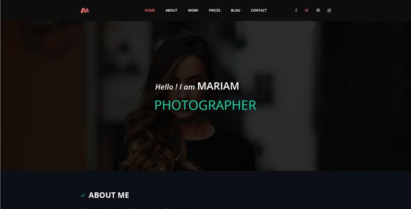 Melody Photographer One Page PSD Template