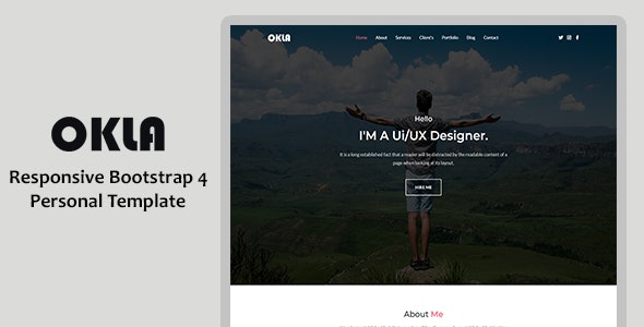 Okla - Responsive Bootstrap 4 One Page Portfolio Template - Personal Site Templates