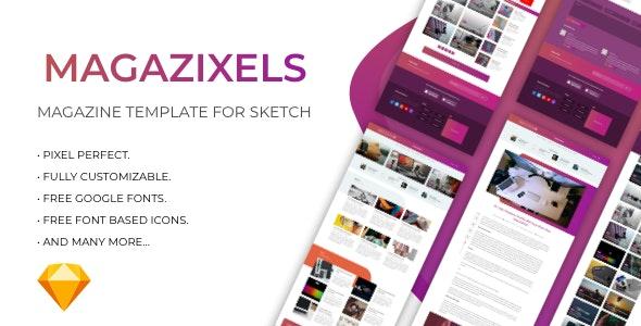 Magazixels - Magazine Template - Sketch UI Templates